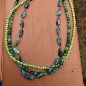 Green Three-Strand Beaded Necklace